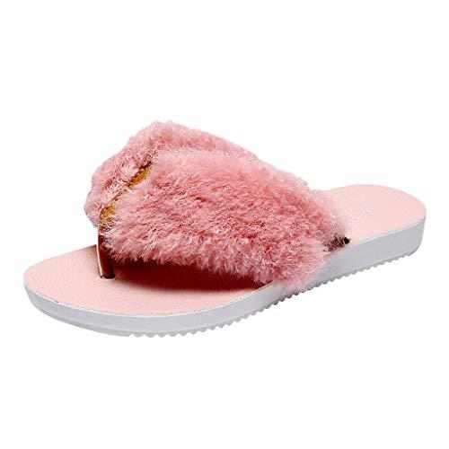 catmoew Hausschuhe Weiblich Sandwich Toe Pantoffeln Mode Tragen Fleece Hausschuhe Indoor Warm halten Baumwolle Hausschuhe Pantoffeln Winter Flacher Boden Zuhause Hausschuhe