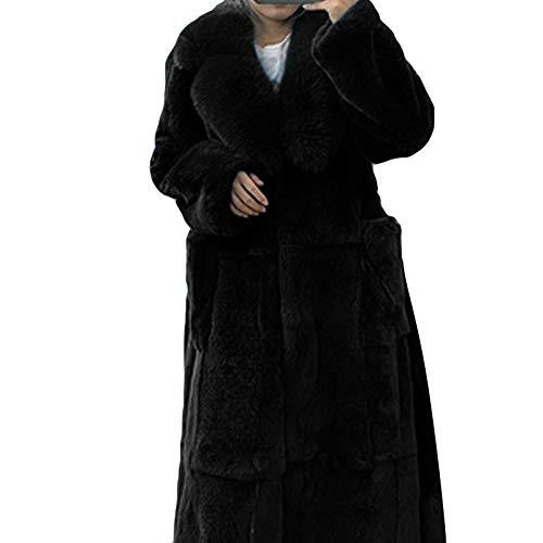 Janly Clearance Sale Abrigos de invierno para mujer, talla grande, abrigo de piel sinttica de lujo, abrigo, abrigo largo, para mujer (Negro-3XL)