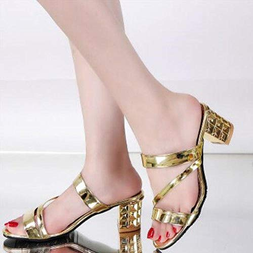 Noctiflorous ,Platform sandals with thick soles, high-heeled slippers-gold [without drill] _UK6.5,