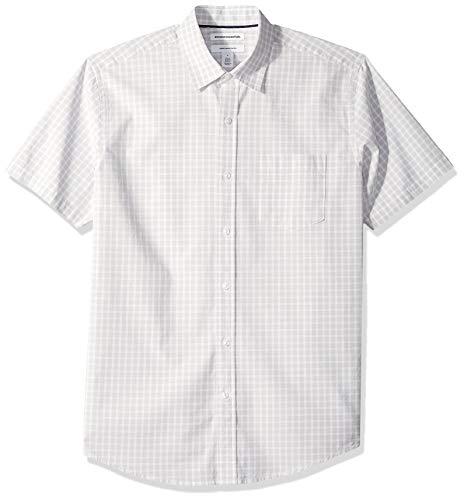 Amazon Essentials Men's Regular-Fit Short-Sleeve Check Casual Poplin Shirt, Gray, Large