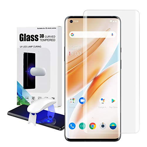Foluu [1 Pack Oneplus 8 Pro Screen Protector, Full HD Curved Edge [Liquid UV Tempered Glass][Exclusive Solution for Ultrasonic Fingerprint] Easy Install Kit for Oneplus 8 Pro 2020 (Oneplus 8 Pro)