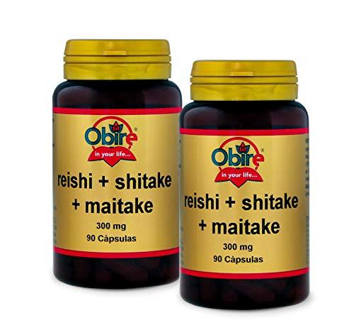 Reishi + shitake + maitake 300 mg. 90 capsulas (Pack 2 unid.)