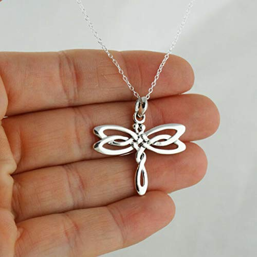 JOELLE STORE Celtic Dragonfly Pendant Necklace 925 Sterling Silver Irish Knot Insect Wings JOELLE STORE