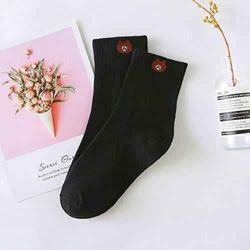 Calcetines 5 Pares De Calcetines De Algodón para Mujer, Colores Caramelo, CalcetinesInformales con Diseño De Animal Encantador paraMujer,Negro