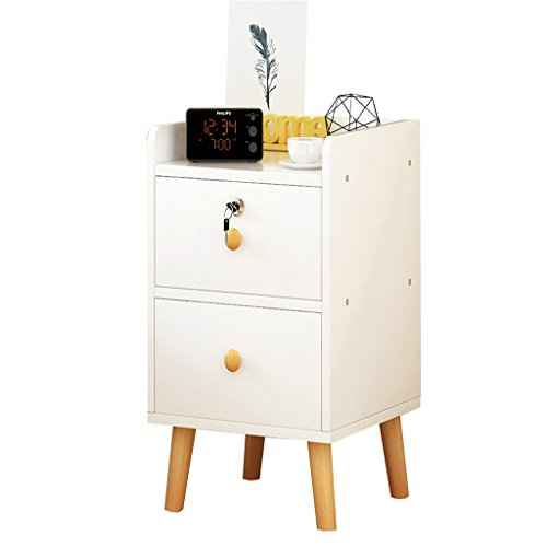 Qi Peng Simple Modern Bedside Table Bedroom Economy Mini Solid Wood Bedside Table Simple Drawer Cabinet 1/2 Layer Space Lock Design Drawer (6 Styles and 4 Sizes) Bedside Table