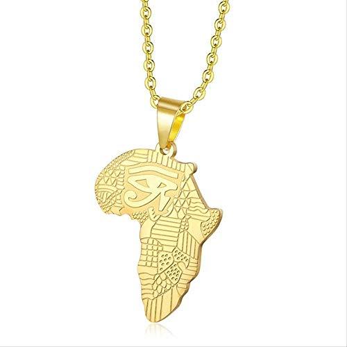 AOAOTOTQ Co.,ltd Collar Ojo de Horus Ankh Colgantes África Mapa Collares Hombres Acero Inoxidable Religión egipcia Collar para Hombres Mujeres Regalo de la joyería