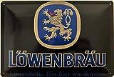 Deko7 Targa in Metallo 30 x 20 cm Colonna di Leone. Una Birra Come la Baviera.