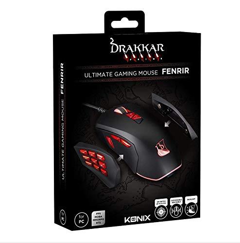 Konix Drakkar Prime Fenrir - Souris Gaming 12 Boutons - Souris Gamer 10 000 DPI - Souris Pro Gamer pour MMORPG, MOBA, FPS - Souris MMO Rétroéclairé avec Câble Tressé - Panneaux Interchangeables