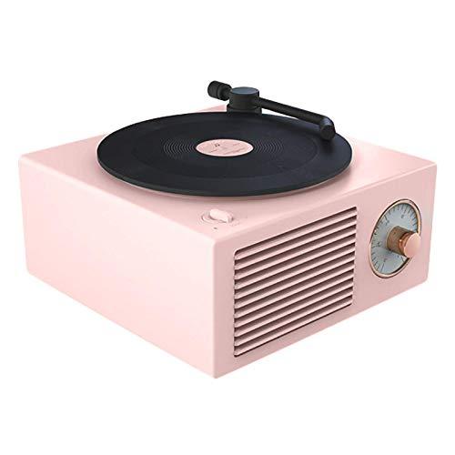 SBDLXY Reproductor de Discos de Vinilo Altavoz Radio Inalámbrico Portátil Mini Acero Retro Atómico Altavoz Grabadora de Casete Adornos Regalos