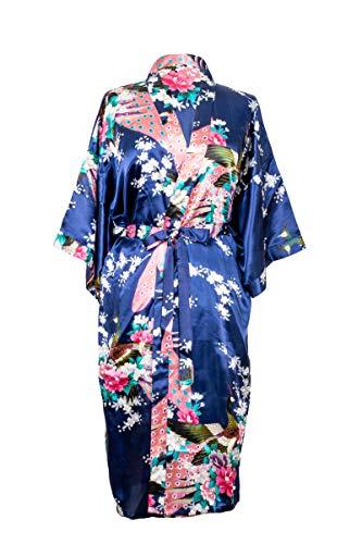 Kimono de CC Collections 16 Colores Shipping Bata de Vestir tnica lencera Ropa de Noche Prenda Despedida de Soltera (Azul Marino)