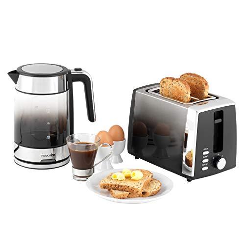 PROGRESS COMBO-5630 Ombre Glass Kettle & 2-Slice Toaster Breakfast Set - Black