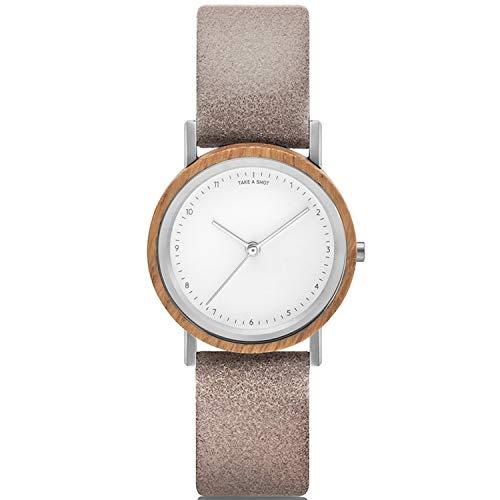 TAKE A SHOT Holzuhr - Kleine Holz Armbanduhr für Damen mit grauem Lederarmband, Analoge Quarz Damenuhr mit Gehäuse aus Holz, Durchmesser 30 mm - LIV Smoke