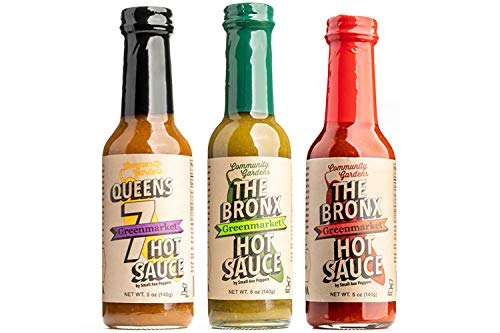 Small Axe Peppers NYC Hot Sauce Set, (3) 5 oz- All Natural, non-GMO, Community Garden Grown! Queens 7, The Bronx Red & The Bronx Greenmarket Serrano Pepper Gourmet Hot Sauce, Featured on HOT ONES!