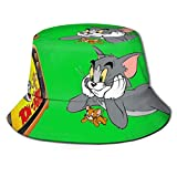 Bucket Hat Tom and Jerry Cartoons Bucket Sun Hat para Hombres Mujeres -Protection Packable Summer Fisherman Cap for Fishing, Safari, Beach Boating Black