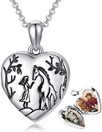 925 Sterling Silver Photo Heart Locket Necklace That Hold Pictures Gift for Women Horse and product image