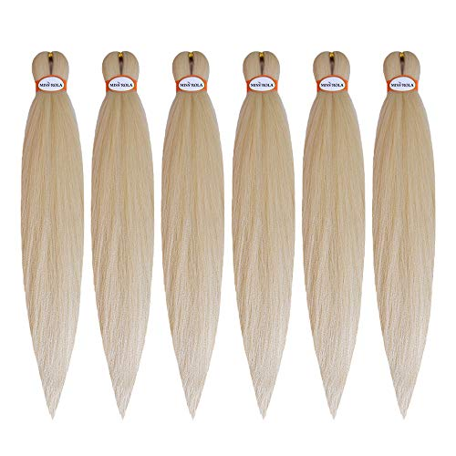 Miss Rola Pre Stretched Braiding Hair 22inch 6 Packs for Box, Twist and Crochet Braids Professional Soft Yaki Texture Easy Twist braid Itch Free Hair Extensions (22inch/613)