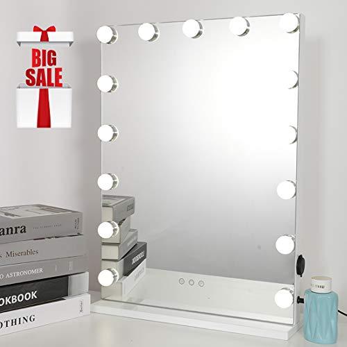iCREAT Hollywood Schminkspiegel super helle Kosmetikspiegel mit Beleuchtung 15 LED Lichter intelligent dimmbar Helligkeit und 3 Lichtfarben Theater Vanity Spiegel, Weiß, 43X59CM