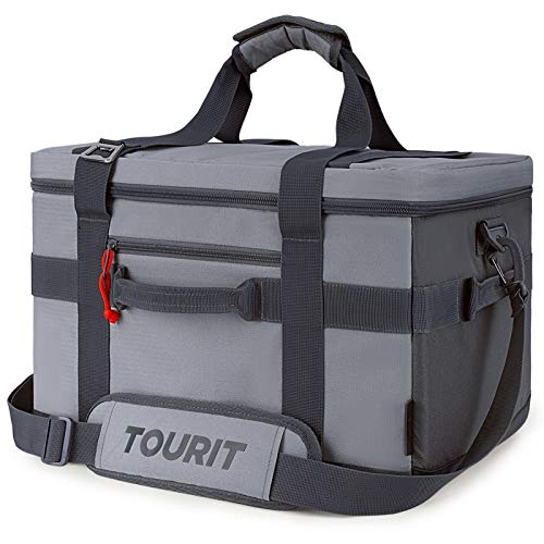 TOURIT Cooler Bag 48-Can Insulated Soft Cooler Large Collapsible Cooler Bag 32L Lunch Coolers for Picnic, Beach, Work, Trip, Grey