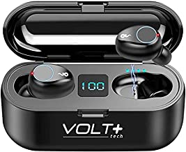 VOLT PLUS TECH Wireless V5.0 Bluetooth Earbuds forGoogle Pixel 5/5XL/4XL/3XL/4a/5Gwith LED Display, Mic and 8D Bass, F9 TWS and IPX7 Waterproof/Sweatproof with 2000mAh PowerBank Charging case