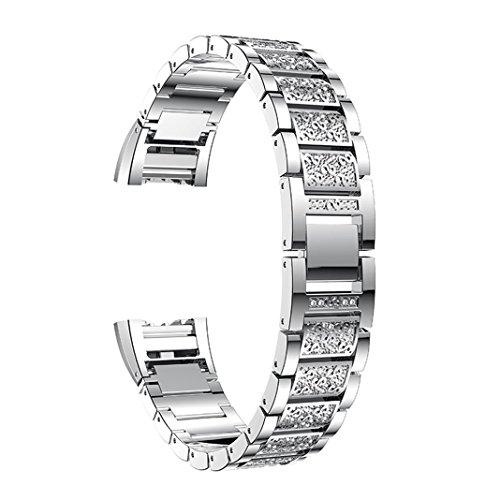 Aottom Kompatibel mit Metall Armband für Fitbit Charge 2 Damen,Armband Charge2 Metall Armbänder Fitbit Charge 2 Ersatzband Frau Glitzer Kristall Edelstahl Fitness Zubehör für Fitbit Charge 2