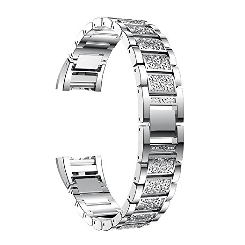 For Fitbit Charge 2 Straps for Women, Aottom Fitbit Charge 2 Strap Stainless Steel Rhinestone Glitter Replacement Band Wrist Strap Metal Bracelet for Fitbit Charge 2 Fitness Accessories - Silver