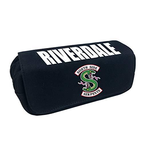 Riverdale Impreso Solapa con Cremallera Doble Bolsa de Papelería para Estudiantes Alta Capacidad Lona Bolso del lápiz