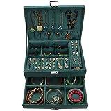 Joyero, joyero de gamuza multicapa, caja organizadora de pendientes de joyería de gran capacidad con cajón de cerradura, vitrina de almacenamiento de joyería duradera para pulseras, anillos, collar