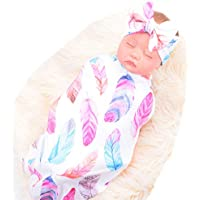 Newborn Swaddle Receiving Blanket & Headband Set (White Feathers)