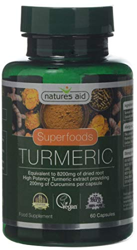 Natures Aid Turmeric 8200 mg, High Potency Extract plus Whole Herb, 200mg Curcumins, Vegan, 60 Capsules