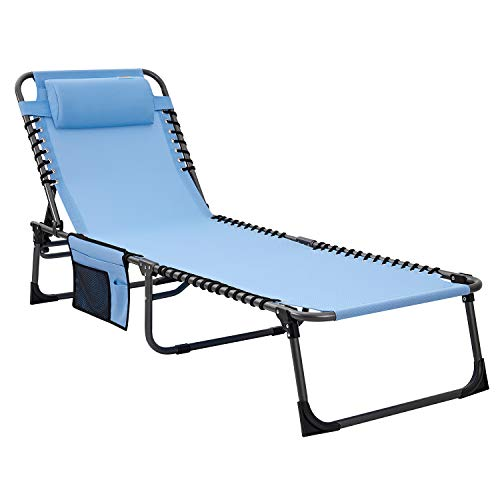 #WEJOY Foldable & Reclining Sun Lounger with Adjustable Headrests & Side Pocket Metal Textoline Fabric Garden Chair