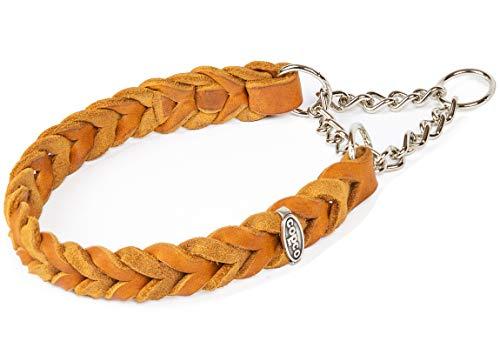 CopcoPet - Fettleder Halsband geflochten mit Zugstop Kette, Cognac 35-40 cm x20 mm