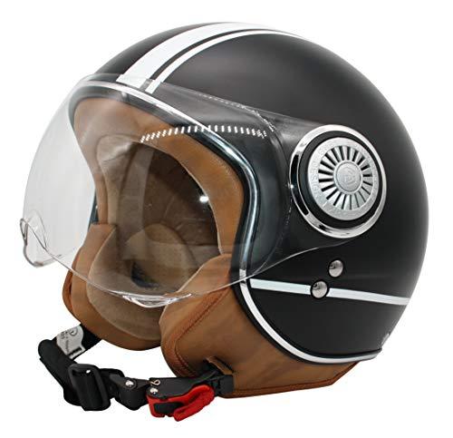 MONACO Jet-Helm mit Visier, Retro Pilot-Helm für Brillen-Träger, Roller-Helm für Frauen und Herren im Vintage-Look, Motorrad-Helm, Qualität nach ECE-Norm schwarzmatt (M)