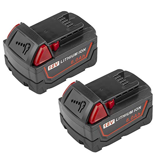 [2Pack] High Output 6.0Ah 18V M18 Lithium ion Battery for Milwaukee M18B Xc 48-11-1850 48-11-1815 48-11-1820 48-11-1852 48-11-1828 48-11-1822 48-11-1811 48-11-1840 48-11-1860 48-11-10
