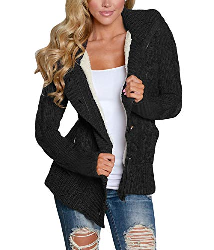 Happy Sailed Damen Langarm Strickjacke Cardigan Strickcardigan Hoodie Jacke mit Kapuze,Schwarz,S