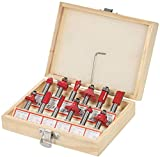 ISC 8mm 12 Pcs Router/Trimmer Bit Set with Wooden Box for Wood Working
