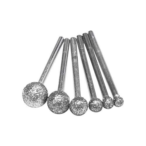 Muela abrasiva de diamante redonda de 6 unids/lote para herramientas rotativas Dremel, herramientas de diamante para accesorios de herramientas de diamante de granito, como se muestra