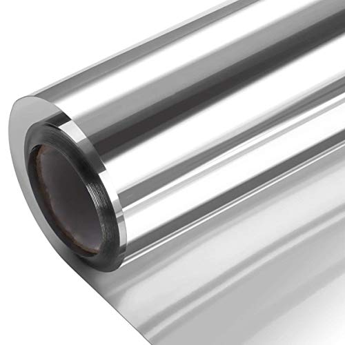 One Way Window Film Daytime Privacy Heat Control Window Film Anti UV Reflective Static Cling Film, Window Tint for Home and Office Silver 23.6 x 78.7 Inch