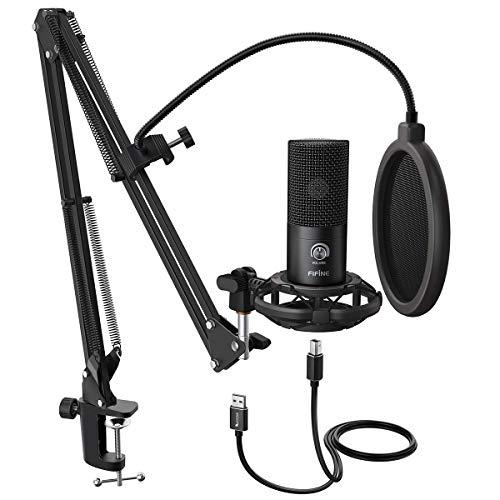 FIFINE Studio Kondensator USB Mikrofon Computer PC Mikrofon Kit mit verstellbarem Scherenarm Ständer Shock Mount für Instrumente Voice Overs Aufnahme Podcasting YouTube Karaoke Gaming Streaming-T669