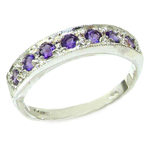 Solid English Sterling Silver Ladies Natural Amethyst Eternity Band Ring - Size O 1/2