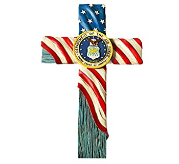Urbalabs United States Air Force Hanging Wall Cross US Flag Design Military US Air Force Wall Hanging Cross Office Home Decor 12 Inch Air Force Stars and Stripes Symbol Air Force Gifts