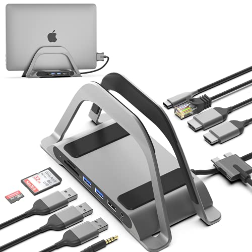 HumanCentric USB C Hub for MacBook, Laptop Docking Station and MacBook Stand Compatible with MacBook Pro and Air, Dual Monitor Adapter, Multiport USB C Dock for Mac, 10 Ports with USB 3.0, Ethernet