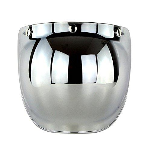 Redcolourful Retro 3-Snap Sonnenschutz Sonnenschutz Visier Bubble Mirro für Motorrad Helm Gesicht Objektiv Silber Praktisches Autozubehör