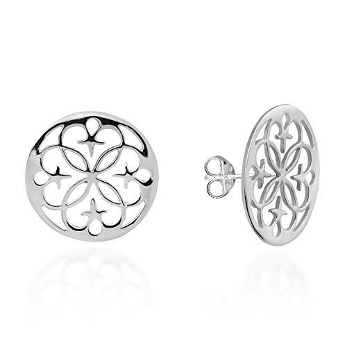 Celtic Starry Lace Flower of Life .925 Sterling Silver Post Earrings