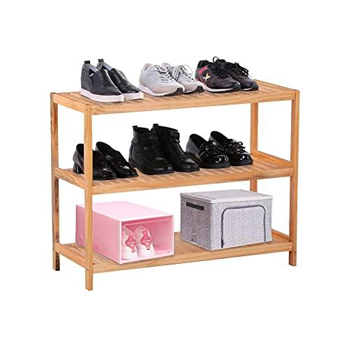 GOLDFAN 3 Tier Pine Wood Shoe Rack Standing Organizer Storage Rack Space...