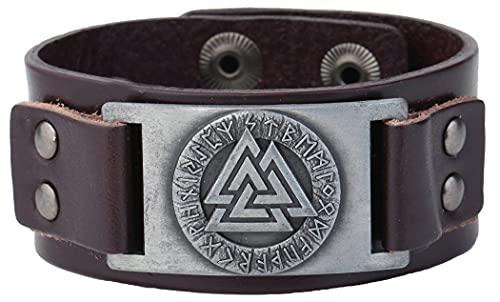 AMOZ Vintage Odin Vikings Runas Metal Conector de Artesanía Wicca Amuleto Joyas Brazalete Pulsera de Cuero Pulsera Negra Re Antiguo,Pulsera Marrón Plata Antigua