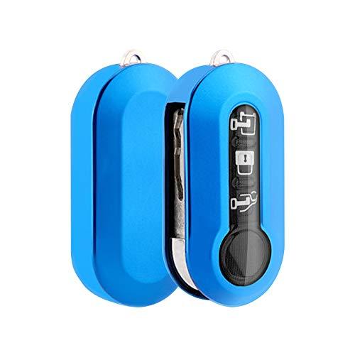 RUIYA - Funda para llave de coche de TPU suave para Fiat 500   500 L   500E   500C (azul)