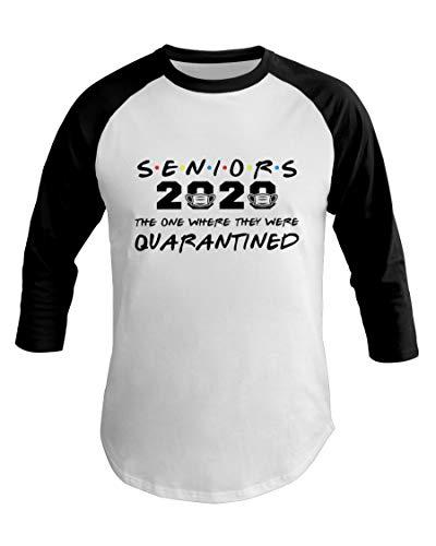 S.E.N.I.O.R 2020 The One Where They were Quarantined Senior Graduation 2020 Baseball T-Shirt White-Black