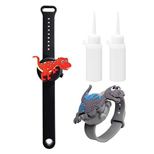2PCS Braccialetto Disinfettante per Mani in Silicone Unicorno con Bottiglia Riutilizzabile,Portatile Dispenser di Braccialetti per Bambini Adulti (dinosauro)