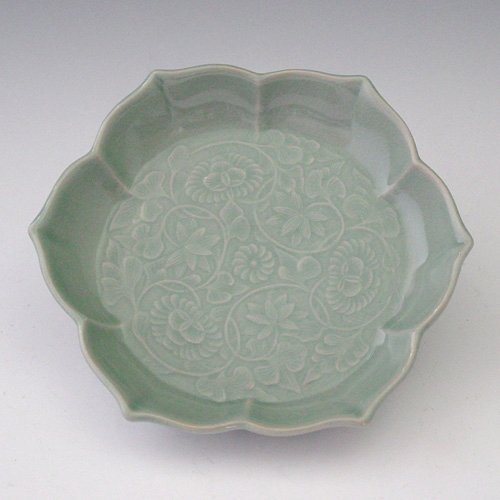 Plat Porcelaine Céladon Goryeo Corée Collector Vert Jade LOTUS