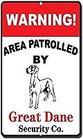 グレートデーンの目新しさ面白い金属看板に警戒区域警告エリア